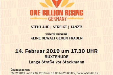 Plakat für Tanzkundgebung One Billion Rising am 14. Februar 2019